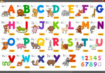 educational cartoon alphabet letters for learning