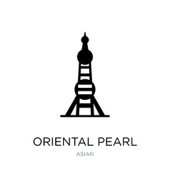 oriental pearl tower icon vector on white background, oriental p