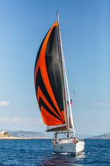 Sailing luxury yacht boat in the Aegean Sea.