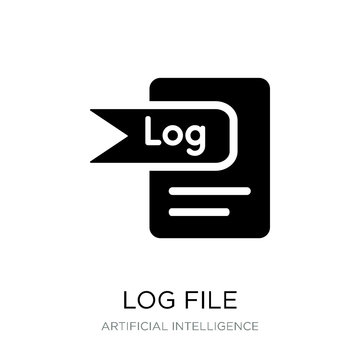 log file icon vector on white background, log file trendy filled