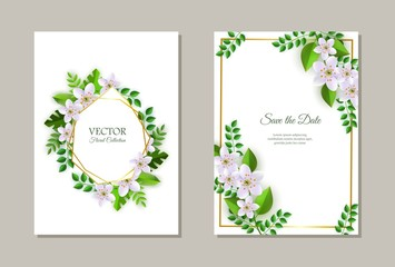 Vector illustration set of tender romantic floral compositions on wedding invitation or greeting cards - frames with light pink flowers and green leaves on white background with copy space.