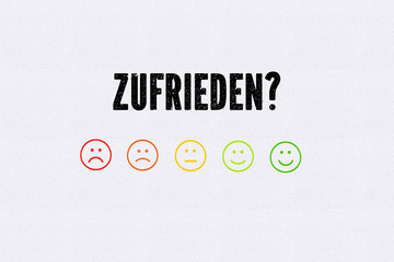 """Emoticons in verschiedenen Farben und die Frage """"Zufrieden?"""""""