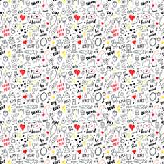 Love and Valentine Day seamless pattern vector illustration. Hand drawn sketched doodle romantic symbols background