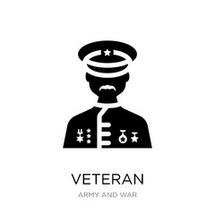 veteran icon vector on white background, veteran trendy filled i