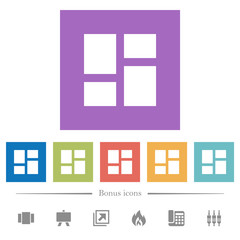 Admin dashboard panels flat white icons in square backgrounds