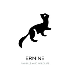 ermine icon vector on white background, ermine trendy filled ico