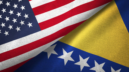 Bosnia and Herzegovina and United States two flags textile cloth fabric texture