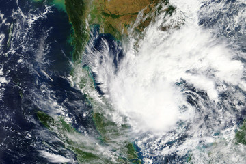 Tropical Storm Pabuk heading towards Thailand in January 2019 - Elements of this image furnished by NASA