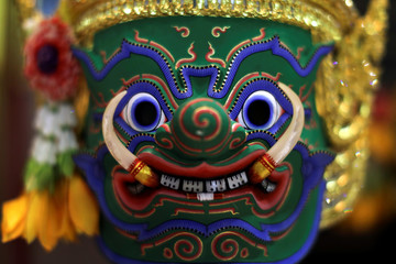 Traditional Khon theatre mask is seen at the Thailand Cultural Centre in Bangkok