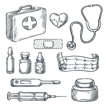 First aid kit vector sketch illustration. Medicine and healthcare hand drawn icons and design elements