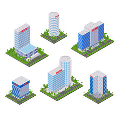 City hotel modern buildings, vector 3d isometric icons and design elements set. Business real estate objects