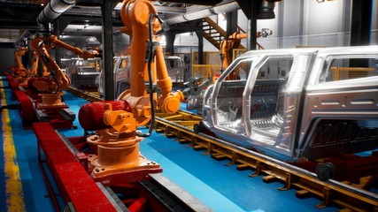 Car welding line of conveyor with frameworks of unfinished cars and robots welders. 3D Rendering
