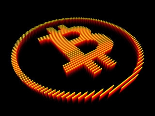 Bitcoin yellow striped sign