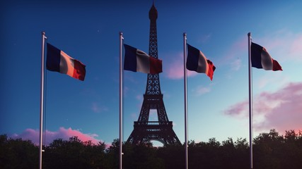 The Flag Of France. Beautiful  of the French flag on the background of blue sky, clouds and Eiffel tower on a sunrise. 3D Rendering