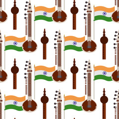 India Flag, Sitar, and Pungi Seamless Pattern - Popular Indian instruments with flag of India