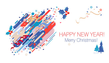 Happy New Year greeting card. Abstract Christmas poster. Vector illustration
