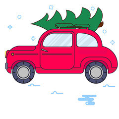 New Year. The red car carries a Christmas tree. Vector vintage image