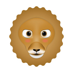 Lion male head cartoon vector