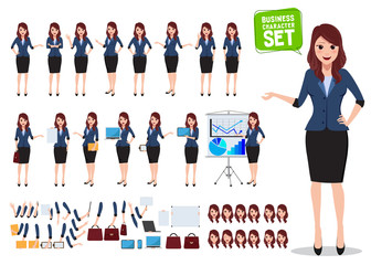 Female business character vector set. Office woman talking with various poses and hand gestures for business presentation isolated in white. Vector illustration.