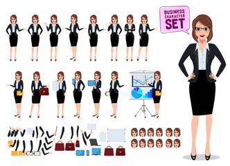 Female business characters set with office woman standing and talking with various pose and gesture for business presentation isolated in white. Vector illustration.
