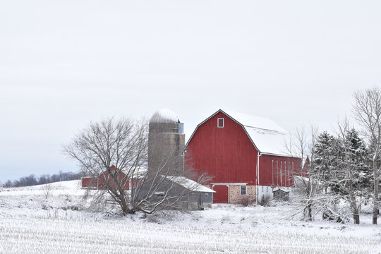 Classic red barn and silo covered in snow on a farm in a rural area in winter on an overcast day