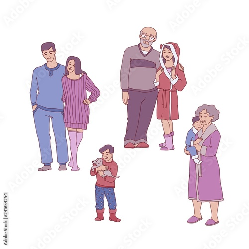 Amazing Vector Cartoon Big Family Hugging In Cozy Home Cloth Download Free Architecture Designs Fluibritishbridgeorg