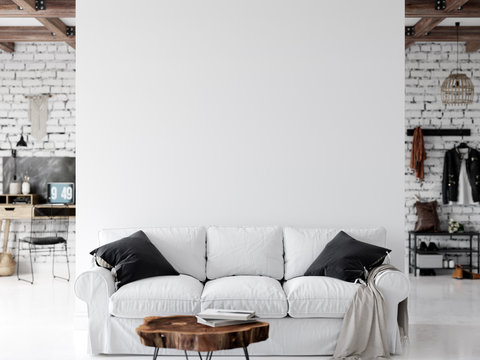 Living room interior. Wall mockup. Wall art. 3d rendering