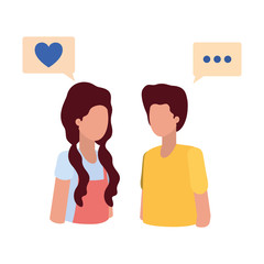 young couple with speech bubble avatar character