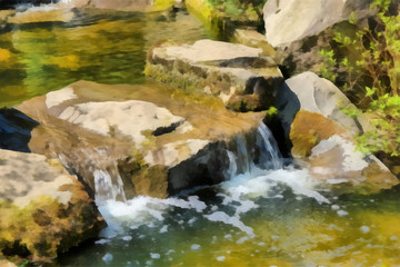 Abstract watercolor landscape. Mountain stream