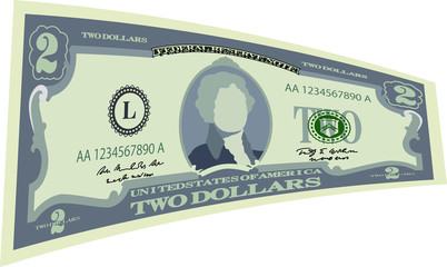 Deformed 2 US dollar banknote