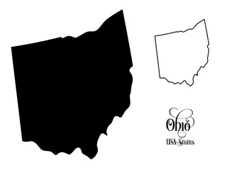 Map of The United States of America (USA) State of Ohio - Illustration on White Background