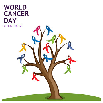 World cancer day 4 february text with ribbon tree. Vector illustration concept for world cancer day