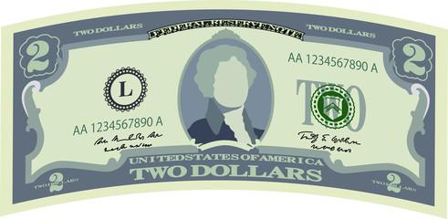 Monochrome Deformed 5 US dollar banknote