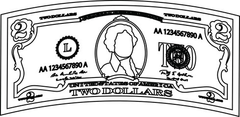 Deformed 2 US dollar banknote outline