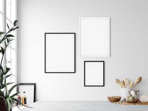 Frame mockup. Kitchen interior wall mockup. Wall art. 3d rendering, 3d illustration.