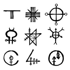 Set of icons and symbols letters inspired on the theme of magic and witch craft occult alchemy, mystic, esoteric religion and mason, isolated. Flesh tattoo ideas. Vector.