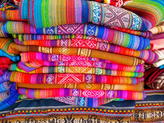 South America Indian woven fabrics. Colorful handmade native blankets.