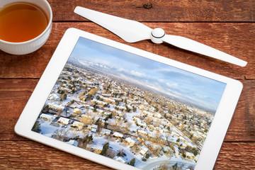 residential neighborhood in winter scenery