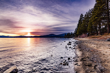 Colorful sunset on the north shore of Lake Tahoe, California