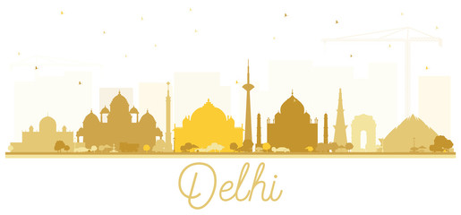 India City Skyline Silhouette with Golden Buildings Isolated on White.