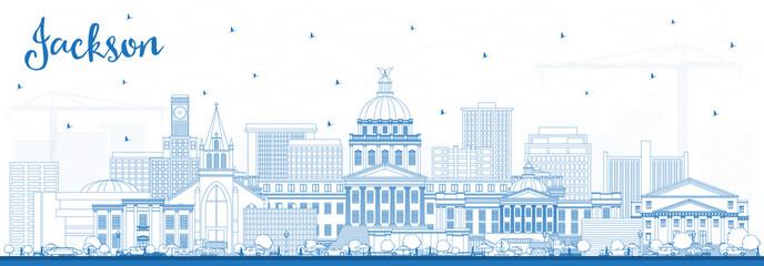 Outline Jackson Mississippi City Skyline with Blue Buildings.