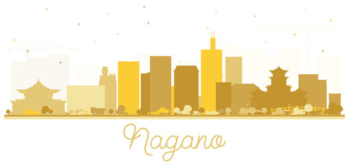 Nagano Japan City Skyline Silhouette with Golden Buildings.