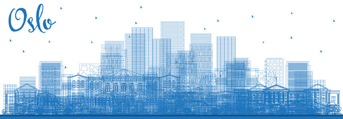 Outline Oslo Norway Skyline with Blue Buildings.