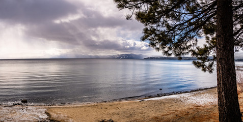 Stormy winter day on the shoreline of Lake Tahoe, Sierra mountains, California
