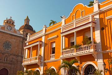 City architecture of Cartagena de Indias, Colombia. Traditional historic architecture of colonial times at small city square.
