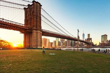 Beautiful sunset at Brooklyn Bridge, New York City