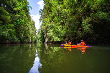 Nice day and beautiful view for Kayaking at  Ao tha lane, Krabi, Thailand