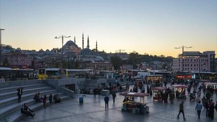 Wall Mural - Istanbul time lapse Crowd of people walking on street near Galata Bridge in Istanbul, Turkey