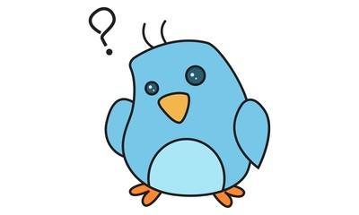 Vector cartoon illustration of cute bird confused.Isolated on white background.