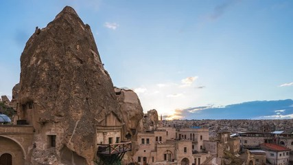 Wall Mural - Cappadocia cave day to night time lapse with Cappadocia city skyline in Goreme, Turkey